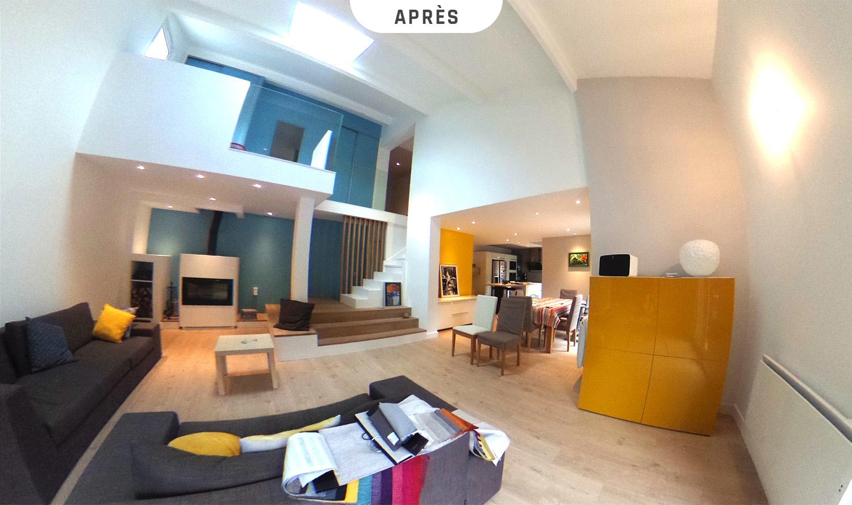 Rafraîchissement d'un séjour avec poêle et mezzanine à Charbonnières-les-Bains (Rhône) - Après