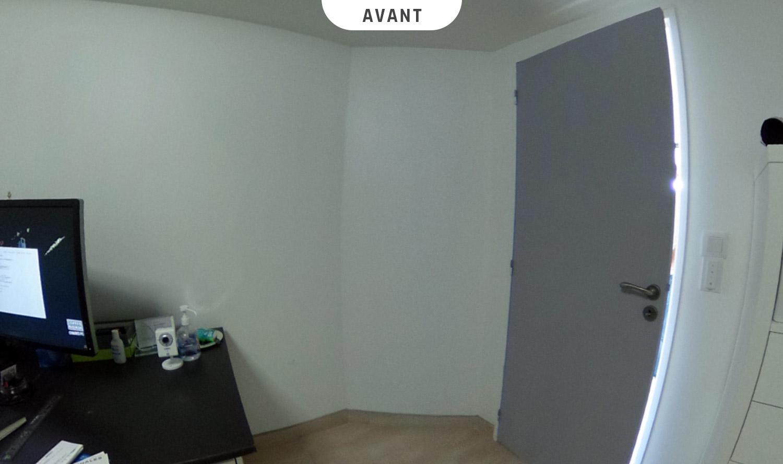 Verrière intérieure au sein d'un bureau à Reyrieux (Ain) - Avant